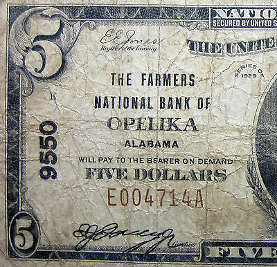 1929 $5 National Bank Note ✪ Farmer's Ntl Bank Of Opelika ✪ Al 9550 ◢Trusted◣