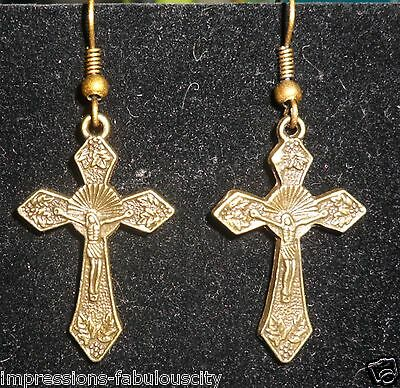 HOLY CRUCIFIX CROSS HOLY RELIGIOUS EARRINGS BRONZED ANTIQUED TIBETAN SILVER