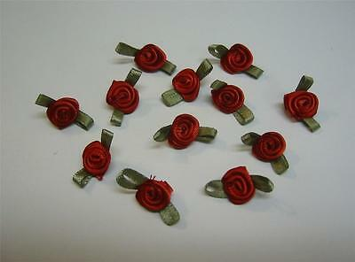 Rosettes Red w// green Satin Dolls Childrens Hair Bows Clothing 20 pcs #srr031
