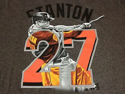 Giancarlo Stanton Miami Marlins Me in Team Jersey T Shirt Majestic $26 msrp Mike