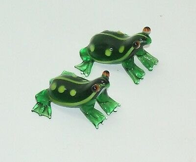 Two Miniature Green Glass Leopard Frog Figurines less than one inch Tall