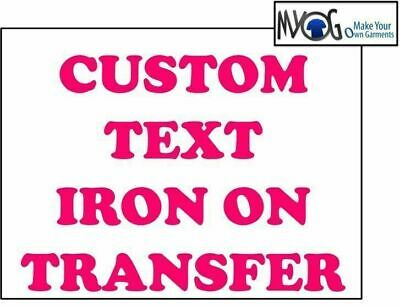 Custom Iron On T Shirt Transfer Personalised Any Name Text Pink Font Light