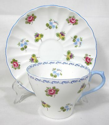 ELEGANT SHELLEY PINK ROSES & PANSYS CUP & SAUCER BONE CHINA