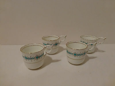Vintage Coalport Bone China Demitasse Cups (4) England Hand Painted c40 50s (S2