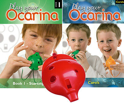 OCARINA, Red 4-hole, Play Your Ocarina BOOK 1 and CAROLS, with FREE DELIVERY