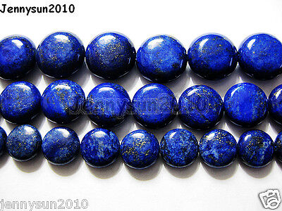Natural Lapis Lazuli Gemstone Flat Round Coin Beads 16'' Strand 10mm 12mm 14mm