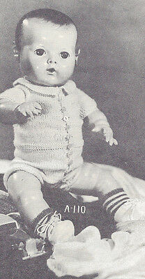 """Knitting PATTERN 14""""-18"""" Knitted Baby Boy Doll Clothes One Piece Suit Creeper"""