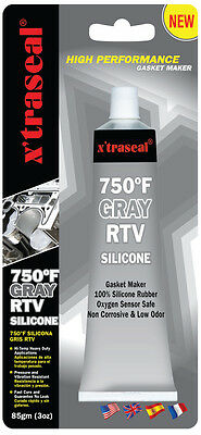 X'traseal Gasket Sealant GRAY 750F, HIGH TEMPERATURE RTV Silicone, 85gm TUBE