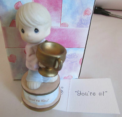 """PRECIOUS LITTLE MOMENTS FIGURINE """"YOU'RE #1""""..BOY WITH GOLD CUP... 1998.. MIB"""