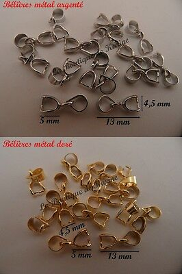 LOT 15 BELIERES ATTACHE PENDENTIF METAL ARGENTE OU DORE 5 x 13 mm BIJOUX PERLES