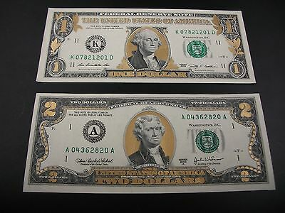 One Uncirculated Colorized Gold One Dollar and Two Dollar Bills