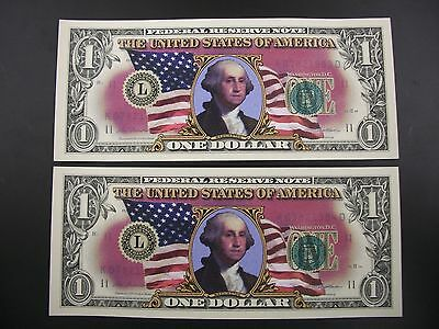 Two Uncirculated Colorized One Dollar Bills