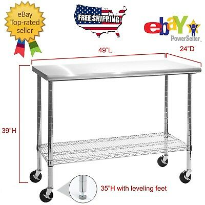 Rolling Stainless Steel Top Work Table Kitchen Table Cart Workbench Shelving 49""