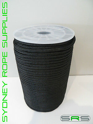 6Mm X 100Mtr Black Double Braided Polyester Yacht Rope,free Postage Austwide