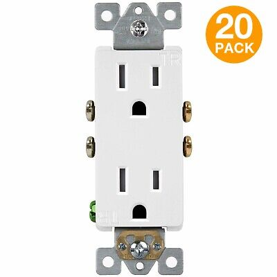 Tamper Resistant Duplex Receptacle Outlet Child-Safe Enerlites 61501 (20 Pack)