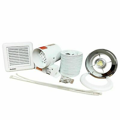 Shower Bathroom Inline Extractor Fan SELV Light Kit Chrome Grill Std or Timer 4""