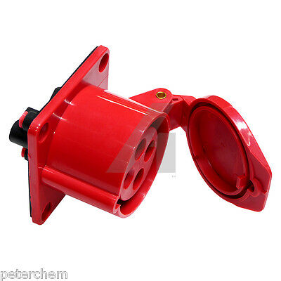 32 amp panel mount socket 4 pin straight 3 phase 3P+E 415V waterproof red 32A
