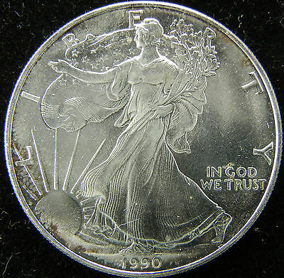 1990 1 Oz .999 Fine Silver Liberty Walking American Silver Eagle Dollar Coin Unc