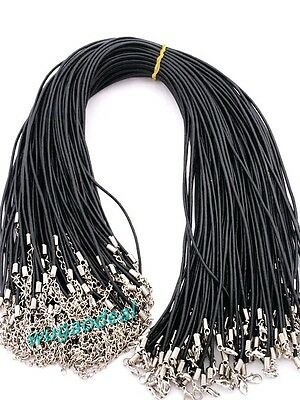 "Wholesale 100 Pcs 2MM 18""   Black Lobster Clasp Oxhide Real Leather cord"