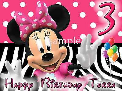 MINNIE MOUSE Edible Birthday CAKE Image Icing Topper FREE SHIPPING