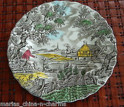 The Hunter by Myott Hand Engraved BREAD BUTTER PLATE ENGLAND Permanent Colors