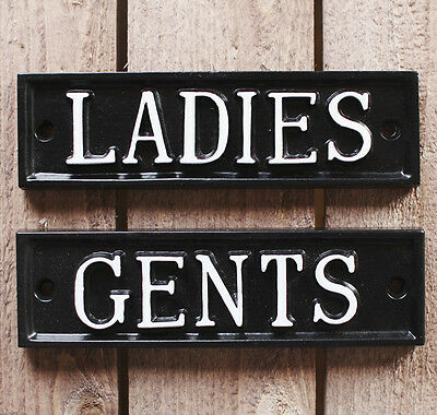 Ladies & Gents Toilet Door Sign Antique Vintage Pub Shop Cafe Restaurant Sign ~