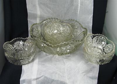 """EAPG - Cambridge Glass """"Large Hobstar"""" Pattern #2351 Clear Glass Berry Set"""