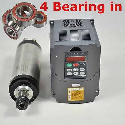 Four Bearing 2.2KW ER20 Water-cooled Spindle Motor Matching VFD Inverter Drive