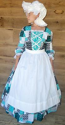 Handmade American Colonial Pioneer Costume~Blue Patchwork Day Dress~ Child 4/5