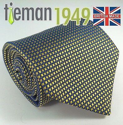 Gold with Royal Blue Crosshatch Pattern Mens Tie