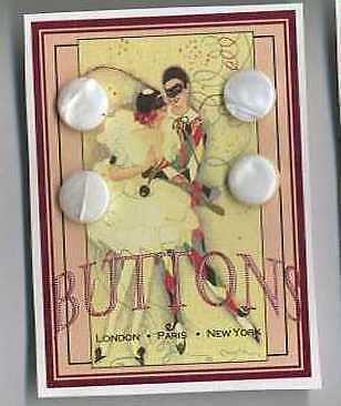 16 Antique Mother of Pearl Shell Tuxedo VINTAGE BUTTONS = Cassie Annie ART CARD