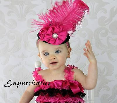 Hot Pink/Black Baby Mini Top Hat Headband Feather Vintage Pageant/Photo Prop NWT