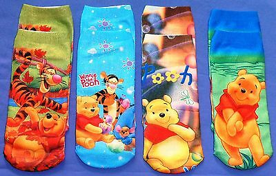 Winnie The Pooh Socks ~ 3 to 5 Years ~ Cotton/Poly ~ Fun & Bright ~ New