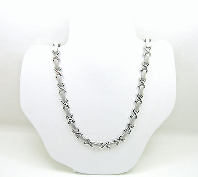 Sterling Silver Fancy Link Necklace with Brush Look Finish