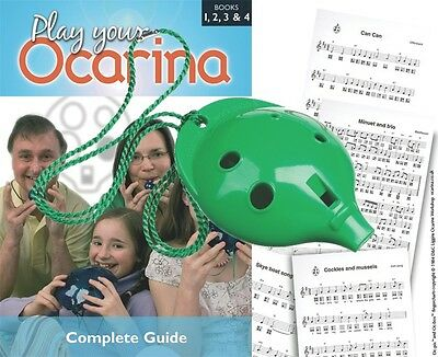 OCARINA Green 6-hole + COMPLETE Play Your Ocarina Books 1-4, FREE DELIVERY