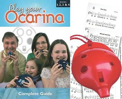 OCARINA Red 6-hole + COMPLETE Play Your Ocarina Books 1-4, FREE DELIVERY