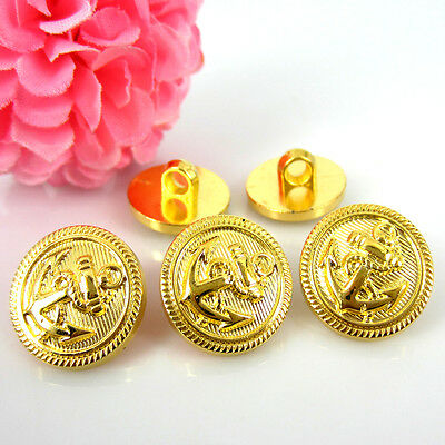 """100Pcs 5/8"""" Gold Tone Anchor Buttons Plastic Cabochon Buttons Fit Sewing 15.0mm"""