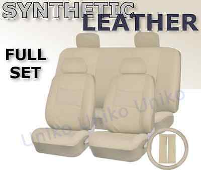 SOLID CREAM PU Low Back Synthetic Leather Seat Covers Steering Wheel Set CS1
