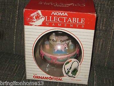 NOMA ORNAMOTION BABY'S FIRST CHRISTMAS GIRL PINK NURSERY SPINS 1ST ORNAMENT +BOX