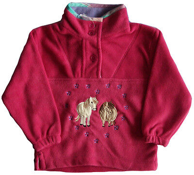 Girls Button Collar Fleece -fushia pink- featuring embroidered ponies - S,M,L,XL