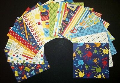 """Colourful Scrapbooking Papers x 16 **SCHOOL DAYS*** - 15cm X 15cm (6"""" x 6"""")"""