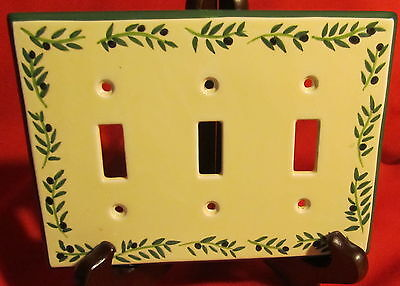 Porcelain Coordinating Wall Plates Firenze Olives ~ Light Switch ~ Triple Toggle