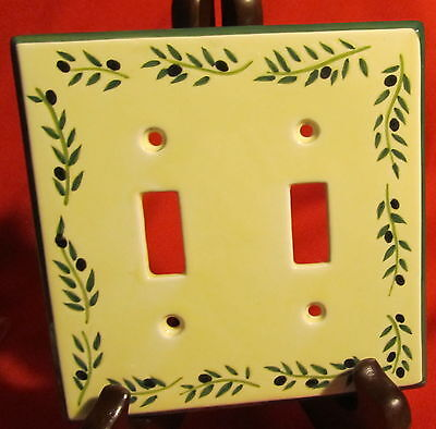 Porcelain Coordinating Wall Plates Firenze Olives ~ Light Switch ~ Double Toggle