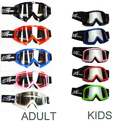 ADULT OR KIDS Goggles for Motocross Dirt Helmet Quad Moto Bike COLOURS ###