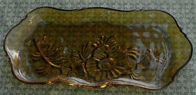 Nice Vintage Pressed Glass Relish Plate, Flashed Amber  GOOD CONDITION