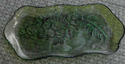 Nice Vintage Pressed Glass Relish Plate, Flashed Green  GOOD CONDITION