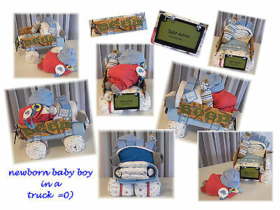 "Custom ""Add Name"" Baby Shower Boys Diaper Baby & TRUCK Cake"