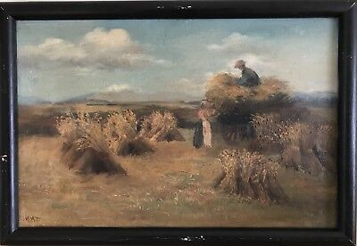 M.a.t. (European 19Th C.) ' Haystacks' - Antique Oil On Canvas Painting, Framed