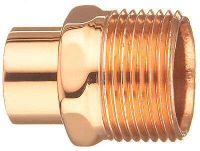 "Copper Male Adapter Fitting Connector 1 1/2"" C X 1 1/2"" MIP Sweat x Thread"