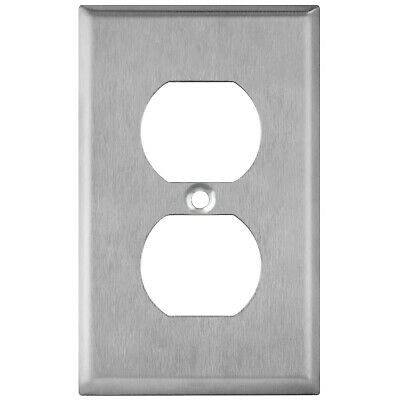 Brushed Stainless Power Outlet Cover Duplex Receptacle Wall Plate 1 2 3 4 Gang